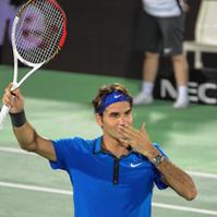 Roger Federer on court