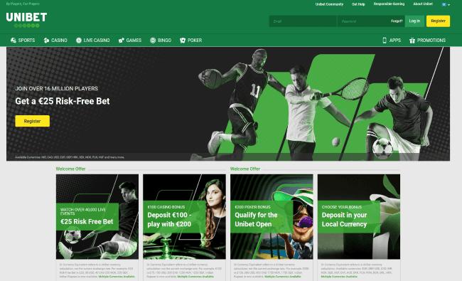 Unibet sports screenshot