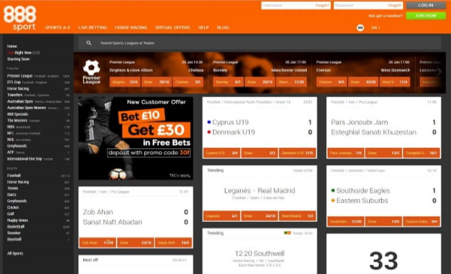Take your bet at 888 Sports