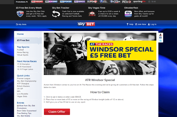 Get your 5 Free at Skybet