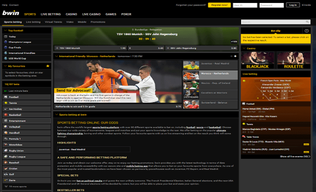 Various Sports Options on at Bwin